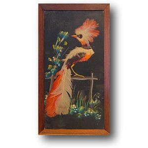 Vintage MIX Media Art of Tropical Bird Teak Frame